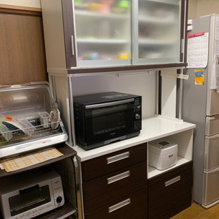 商談中 引っ越しの為処分 食器棚 カップボード 茶色