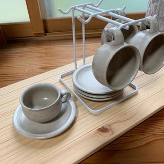 コーヒーカップ4客   カップホルダー付き