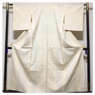 美品 単衣仕立て 身丈155 裄62.5 上質 正絹 紬 幾何...