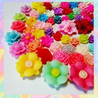No.F003   80個♡お花デコパーツセット♡フラワーカボション♡プラパーツ − 沖縄県