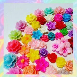 No.F003   80個♡お花デコパーツセット♡フラワーカボション♡プラパーツ - 沖縄市