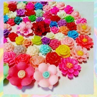 No.F003   80個♡お花デコパーツセット♡フラワーカボション♡プラパーツ - 売ります・あげます