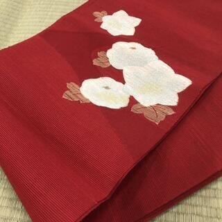 着物帯 浴衣帯 紗? 絽? 透け 赤色 白花 MM45