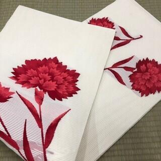 着物帯 浴衣帯 紗? 絽? 白地 白 赤花 紅 花 MM55