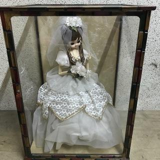 フランス人形 ホワイト ガラスケース付 昭和レトロ 幅44cm×...