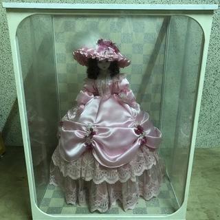フランス人形 ピンク ガラスケース付 昭和レトロ 幅48cm×奥...