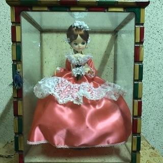 フランス人形 ピンク ガラスケース付 昭和レトロ 幅34cm×奥...
