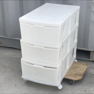 格安!押し入れ収納 プラスティックケース 3段◇キャスター付き