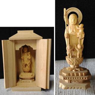 c089 木彫 仏像 ① 黄楊 厨子入 水子地蔵菩薩 子安地蔵
