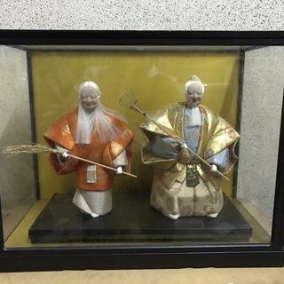 高砂人形 夫婦円満 縁起物 日本人形2 ガラスケース付 幅58c...