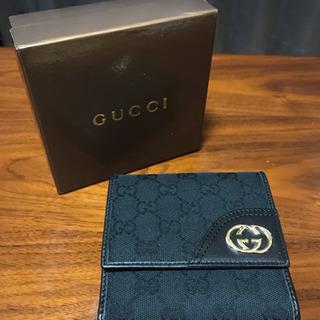 グッチ 二つ折り財布 GGキャンバス ブラック 未使用 難あり