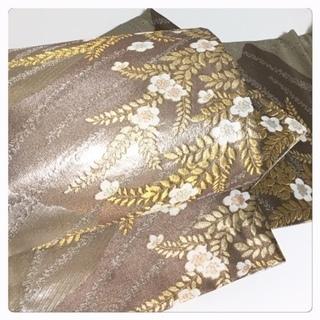 美品 極上 佐賀錦 シルバー 花 六通 正絹  袋帯 リサイクル品