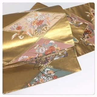 美品 極上 西陣織り 菱 華模様 ゴールド 六通 正絹  袋帯...