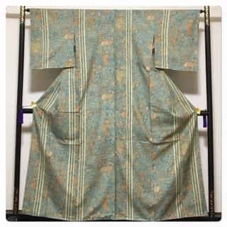未使用 美品 高級カジュアル 正絹 紬 染め 更紗模様 袷 中古品