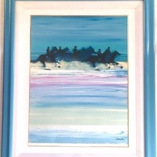 ヴィクトール・スパン 「波と戯れる馬」 額装 油彩 油絵
