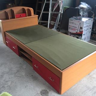 収納・マットレス付き木製ベッド
