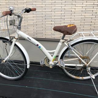 イオンの24インチ自転車 変速付きホワイト ジャンク