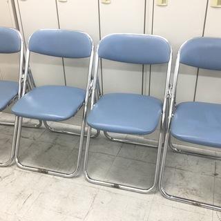中古 プラス 折りたたみパイプ椅子 折りたたみ椅子 クッション付 1脚