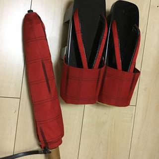 雨用 下駄と折り畳み傘のセット【新品】