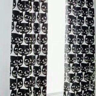 IKEA 猫柄カーテン  2枚組