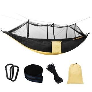ハンモック 蚊帳付き カラビナ付き 収納袋付き 虫対策 耐荷重3...