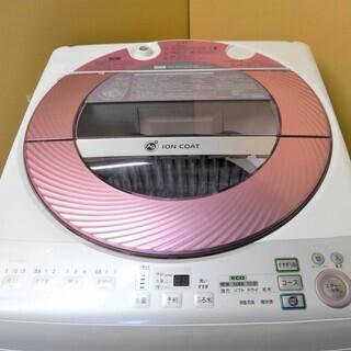 トラック貸出可 SHARP シャープ 8.0kg 全自動洗濯機 ES-GV80M-P 2013年製の画像