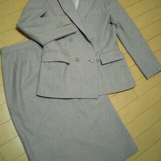 allee★ピンストライプ婦人ウールスーツ★グレー