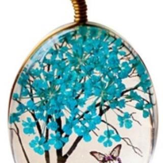 (新品)ガラス樹木のジュエリーネックレス(ブルー)