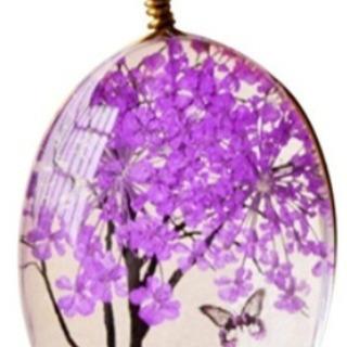 ガラス樹木のジュエリーネックレス(ピンク)