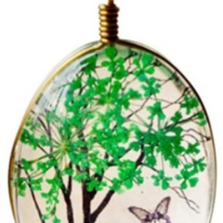 (新品)ガラス樹木のジュエリーネックレス(グリーン)