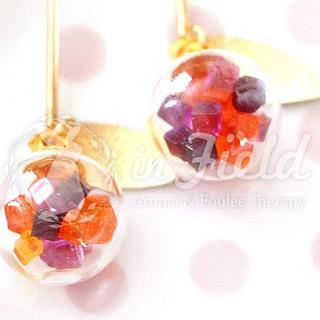 【ハンドメイド】ガラスドームピアス パープル&オレンジ