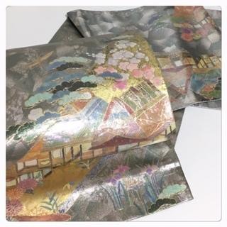 美品 極上 螺鈿 風景模様 高級呉服 シルバーグレー 正絹  袋帯