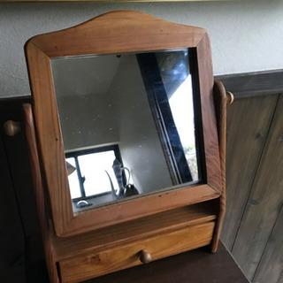 【至急9/1日 18時渡し】卓上 木の鏡