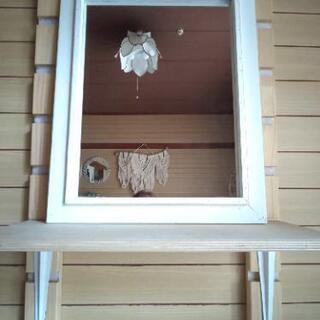♡《未使用》木製 ホワイト アンティーク風 シャビー ウォールミ...