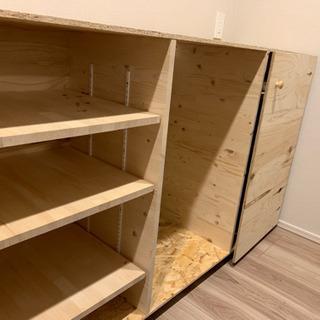 【取引中】手作りキッチンボード 棚の高さ調節可能&キャスター付き