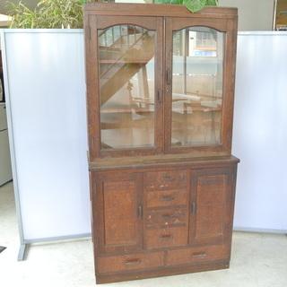 昭和レトロな本棚 食器棚にも 和家具 年代物 和製アンティーク 古民家