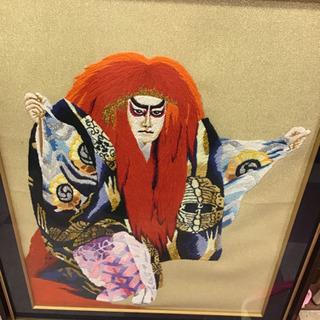 歌舞伎 刺繍 絵画 額 赤 18号 55×72cm