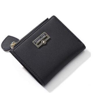 財布 タッセル レディース 二つ折り ミニ財布 小銭入れ ブラック