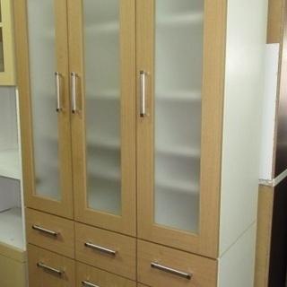 htp-189 食器棚 3連 ナチュラル 木製 キッチン家具 キ...