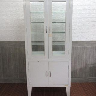 stp-0001 薬品庫 ホワイト ガラス棚 薬品保管庫 薬棚 ...