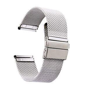 ソリッド メッシュ 腕時計用ベルト ステンレス ベルトプッシュボ...