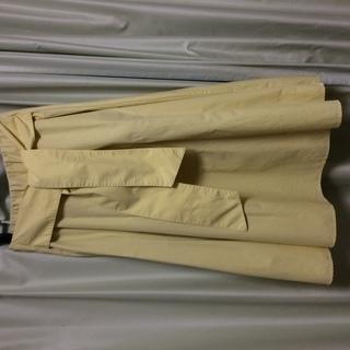 黄色Aラインスカート ウエストリボン付き 100円