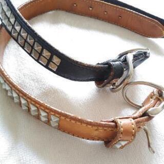 中古美品 馬具職人手作り スタッズカラー 犬の首輪