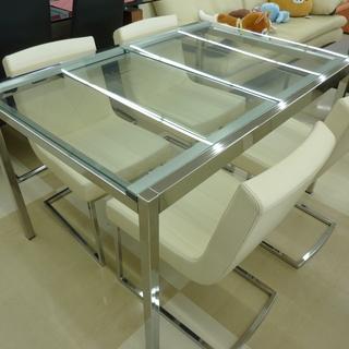 IKEAイケア 伸長式ガラステーブルダイニングセットチェア白 合...