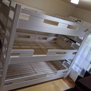宮付き 3段ベッド H204cm 梯子無