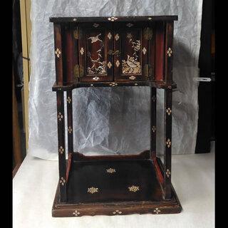 c192 煎茶棚 時代 螺鈿 漆塗 茶道具 煎茶道具 木製