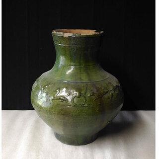 c194 中国 漢 緑釉 壺 漢時代 中国古玩