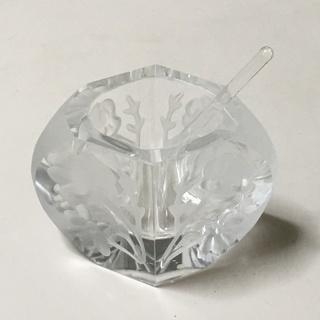 花柄切子風ガラス製調味料入れ ミニガラススプーン付