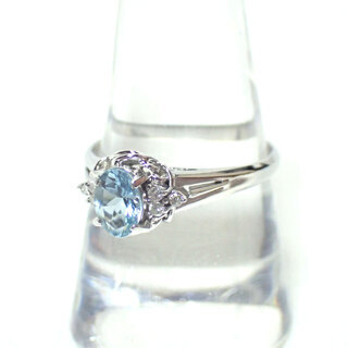 E248 ジュエリーマキ リング 指輪 アクワマリン ダイヤモン...