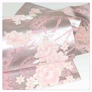 特選 袋帯 正絹 ピンクシルバー 華模様 リサイクル品